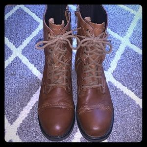 Steve Madden Brown Leather Tropa Combat Boots 10